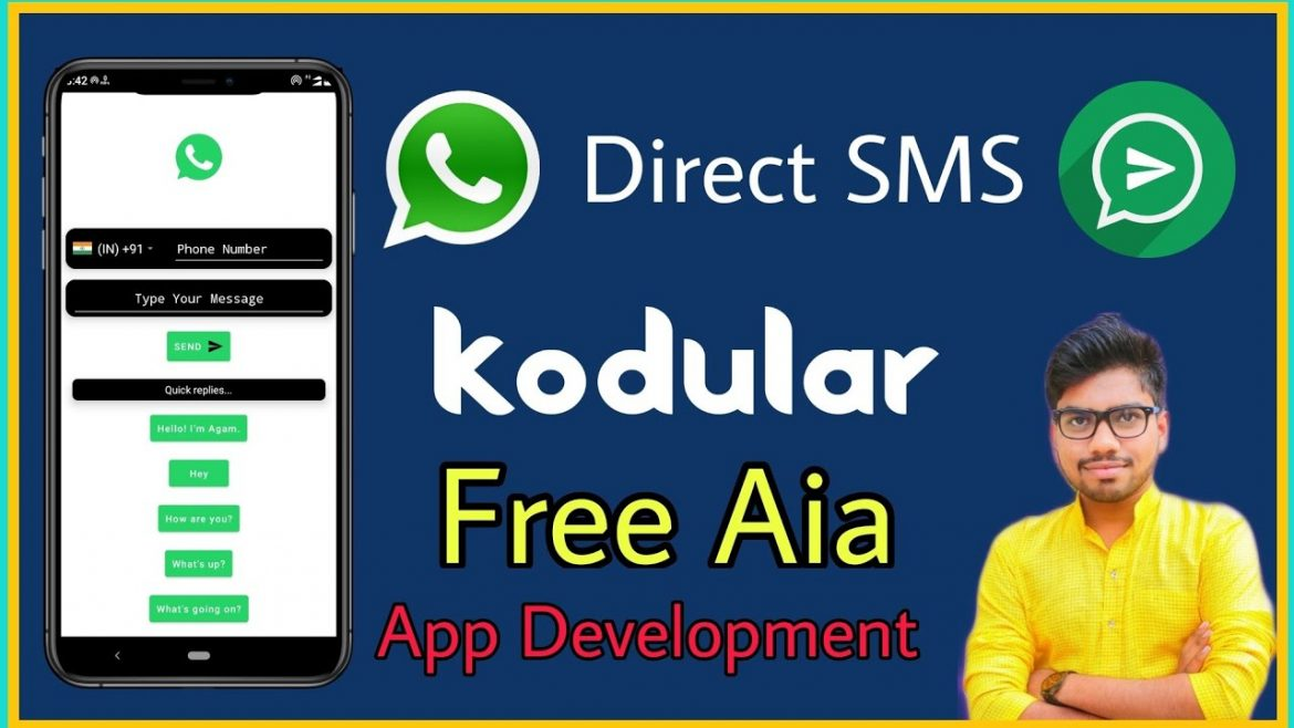 How To Make Own App For Direct Sending Sms In Whatsapp | Free Aia In Kodular | Without Save No. Send